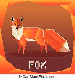 origami, naranja, zorro