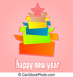 Origami New Year Tree. christmas holiday card