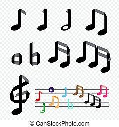 origami, notas, papel, música