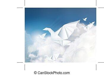 origami, nubi, colombe