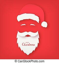 Origami of Santa Claus. Christmas card.