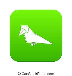 origami, oiseau vert, icône