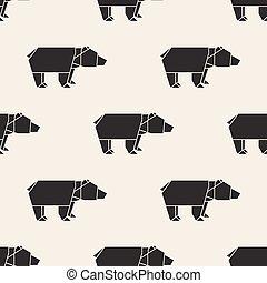 origami, oso,  seamless, Plano de fondo, patrón
