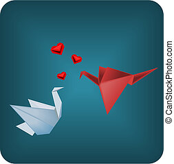origami, pássaros, apaixonadas