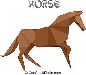 origami, paarde