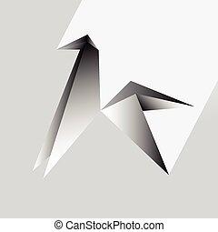 origami, paarde, vector, illustratie