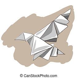 Origami painted bird