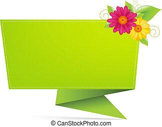 origami, papel, con, hoja, y, flor