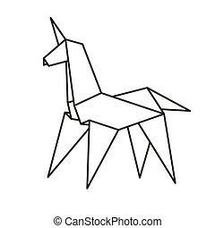 origami, papel, unicornio