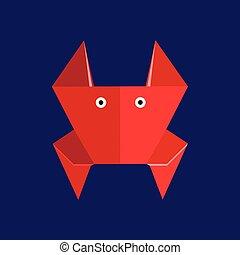 origami, papel, vermelho, carangueijo