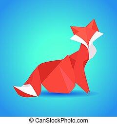 origami, papel, zoo., ilustração, fox.