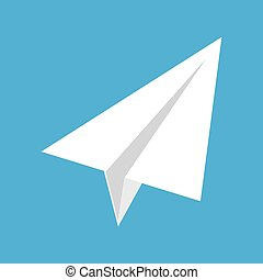 origami paper airplane on blue background