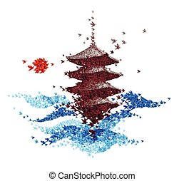 origami paper art - castle shaped from flying paper birds - vector