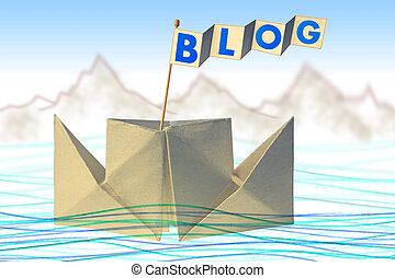 Origami paper boat with flag writing BLOG