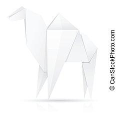 origami paper camel vector illustration