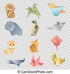 Origami paper cartoon animals, birds and fishes vector flat icons