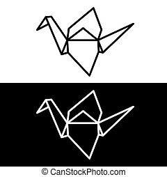 Origami paper crane symbol on white and black background....