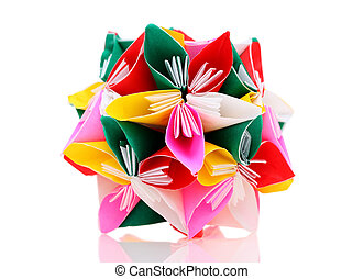 origami paper flower - flower made of origami paper on white...