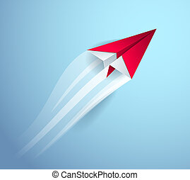 Origami paper folded toy plane is taking off to flight, 3d realistic vector illustration.