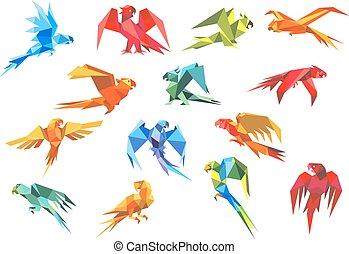 Origami paper models of parrots - Colorful tropical parrots...