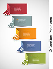 Origami paper numbered banners .Trendy design template