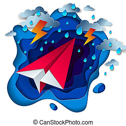 Origami paper plane toy flying in thunderstorm with lightning, dramatic vector illustration of stormy rainy weather over ocean with toy airplane struggles to survive.