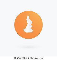 Origami paper rabbit icon. Vector illustration.