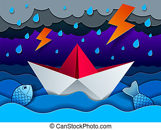 Origami paper ship toy swimming in thunderstorm with lightning, curvy waves of the sea and clouds in the sky, beautiful vector illustration in paper cut style.