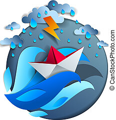 Origami paper ship toy swimming in thunderstorm with lightning, dramatic vector illustration of stormy rainy weather over ocean with toy boat struggles to survive.