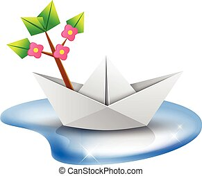 origami paper ship with a green tree