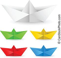 origami, papier łódka