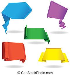 origami, papier, bulle discours