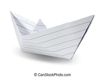 origami, papier, scheeps , vrijstaand, op wit, achtergrond.