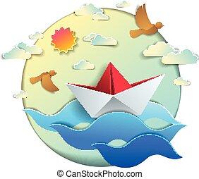 origami, papier, schiff, spielzeug, schwimmender, in, ocean winkt, schöne , vektor, abbildung, von, landschaftlich, wasserlandschaft, mit, spielen boot, schwimmend, in, der, meer, und, vögel, in, der, sky., wasser, reise, sommer, holidays.