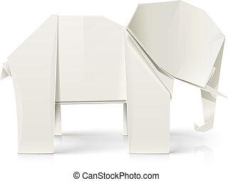 origami, papier, spielzeug, elefant