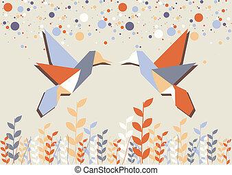 origami, par, över, beige, kolibri
