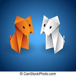 origami, par, cão