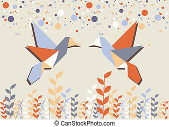 origami, para, na, beżowy, hummingbird