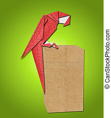 origami parrot made of paper