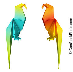 origami parrot isolated on a white background