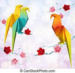 Origami parrots
