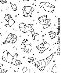 Origami pattern background with outline animals