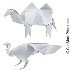 Origami peacock camel