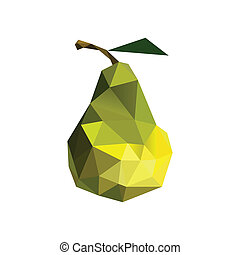 Illustration of abstract origami pear isolated on white background
