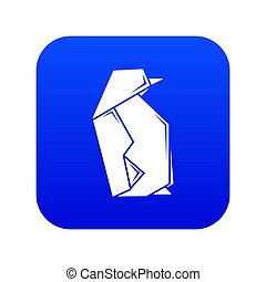 Origami penguin icon blue