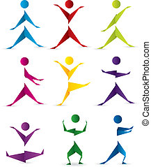 Origami people in motion - Origami people silhouettes in ...
