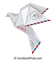 Origami pigeon in flying position with post stamps, in white...