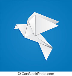 Origami pigeon - White folded paper, origami pigeon on blue ...