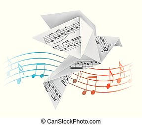 Origami pigeon with musical notes.