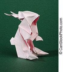 Origami pink rabbit
